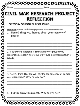 Civil War - Life During the Civil War Research Choice Board Project