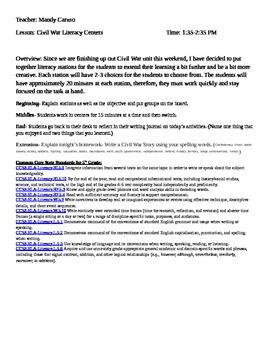 Civil War Literacy Centers Lesson Plan