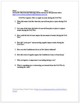 Civil War Logistics in 4 Minutes Video Worksheet