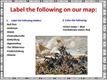 Civil War Major Battles - Map Activity