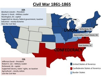 Civil War Map Teaching Resources | Teachers Pay Teachers