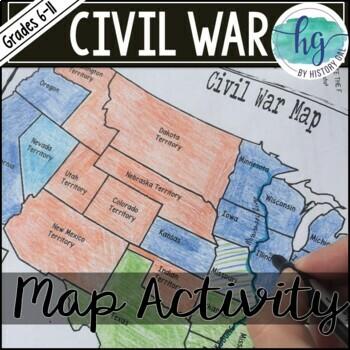 Civil War Map Worksheets & Teaching Resources   Teachers Pay Teachers