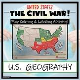 Civil War Map- Label and Color Activity!