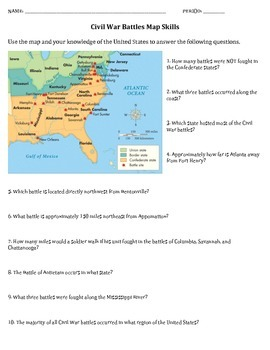 Civil War Map Skills Worksheet