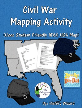 Civil War Mapping Activity Uses Student Friendly 1860 Usa Map