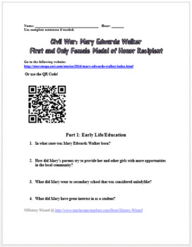 Civil War: Mary Edwards Walker Medal of Honor Webquest