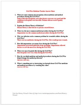 Civil War Medicine in 4 Minutes Video Worksheet