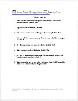 Civil War Medicine in 4 Minutes Video Worksheet