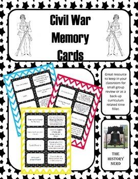 Civil War Memory Cards