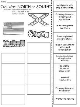 Civil War: North or South? Cut and Paste Activity