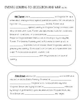 Civil War Note Sheets (Virginia Studies 7abc)
