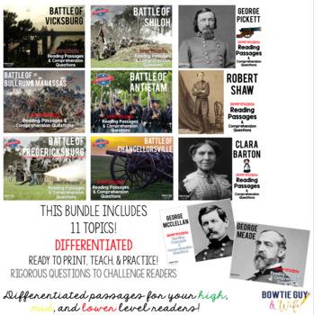 Civil War Passages VOLUME 2 Differentiated Leveled Texts Bundle
