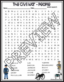 Civil War Activities People Crossword Puzzle and Word Search Find