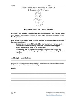 Civil War People & Events: Complete Research Project & Rubric