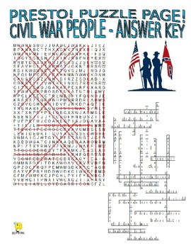 Civil War People Puzzle Page (Wordsearch and Criss-Cross)