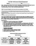 Civil War Performance Based Assessment Newspaper