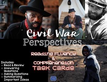 Civil War Perspectives Task Cards for Reading Fluency & Comprehension