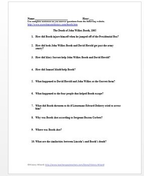 Civil War Primary Source Worksheet: The Death of John Wilkes Booth, 1865