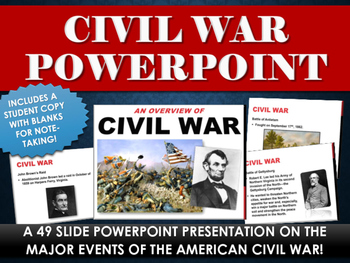 Civil War - PowerPoint with study copy!  (49 Slides on Civil War!)