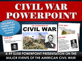 Civil War - PowerPoint with study copy!  (49 Slides on Civil War!)