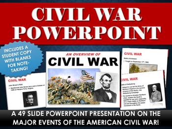 Civil War - PowerPoint with study copy!  (49 Slides on Civ