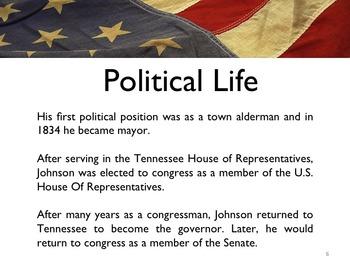 Civil War - President Andrew Johnson PowerPoint