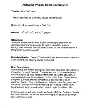 Civil War Primary Source Lesson plan
