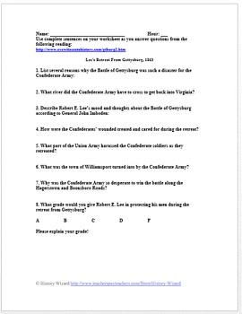 Civil War Primary Source Worksheet: Lee's Retreat from Gettysburg