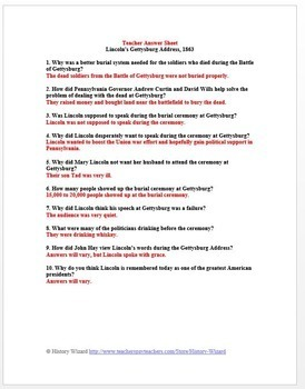 Civil War Primary Source Worksheet: Lincoln's Gettysburg Address 1863