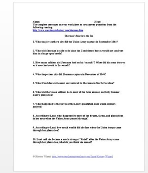 Civil War Primary Source Worksheet: Sherman's March to the Sea, 1864
