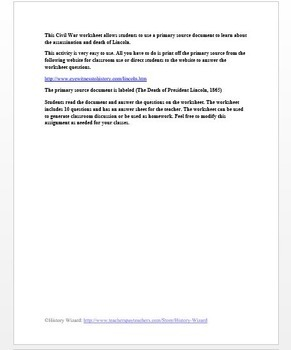 Civil War Primary Source Worksheet: The Death of President Lincoln, 1865