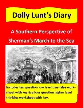 Civil War Primary Sources: Dolly Hunt's Diary (with questions & key)