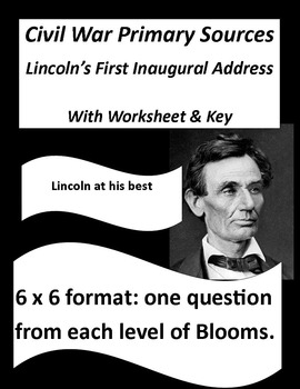 Civil War Primary Sources:  Lincoln's First Inaugural  (with questions & key)