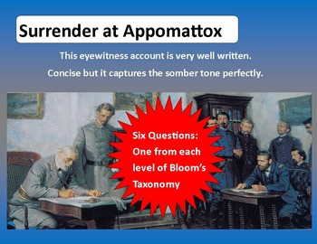 Civil War Primary Sources:   Surrender at Appomattox (with questions & key)