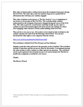 Civil War Prisoners Four Minutes Video Worksheet