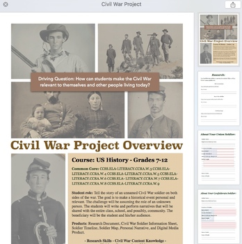 Civil War Project PBL Faces of War with over 1200 Images!
