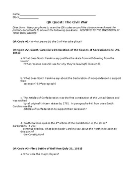 Civil War QR Code Activity with Primary Documents