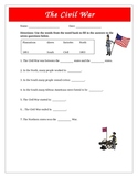 Civil War Questions Map Activity Modified for CD LD SPED
