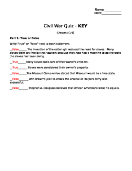 Civil War Quiz Part 1 (Events Leading to the Civil War)