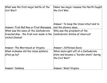 Civil War Quiz Quiz Trade Review Activity