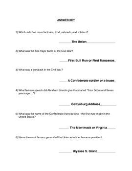 Civil War Quiz with Optional Word Bank