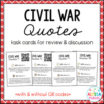 Civil War Quotes Task Cards Activity (VS.1 and VS.7)