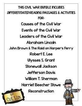 Civil War Passages Differentiated Leveled Texts