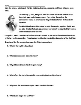 Civil War Reading and Comprehension Questions