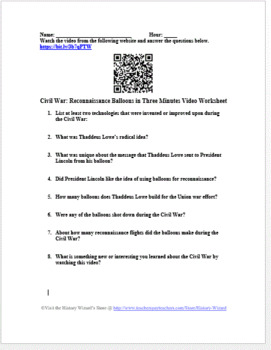 Civil War: Reconnaissance Balloons in Three Minutes Video Worksheet