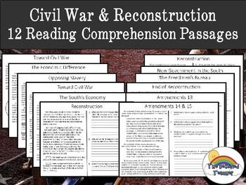Civil War & Reconstruction Reading Comprehension Packet (homework, review)