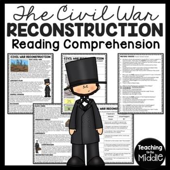 Civil War Reconstruction Reading Comprehension Worksheet