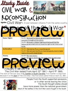 Civil War & Reconstruction Study Guide