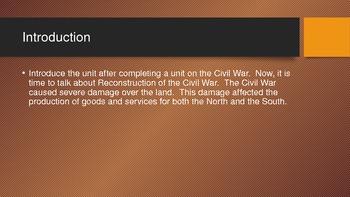 Civil War Reconstruction Unit Lesson 1