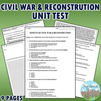Civil War / Reconstruction Unit Test